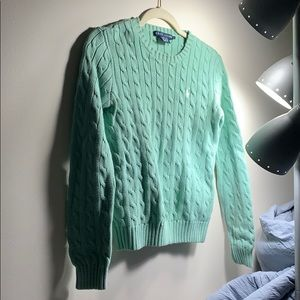 Mint Green Crewneck Cable-knit Sweater